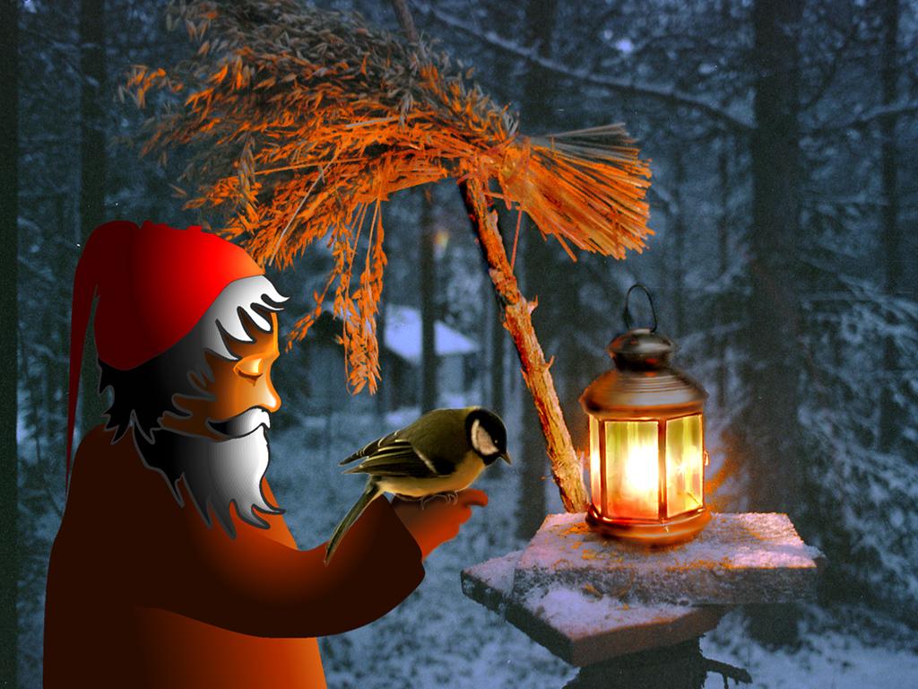 Joulukalenteri -09 Joulu-taustakuvat-joulupukki-ja-lyhty-1024-768